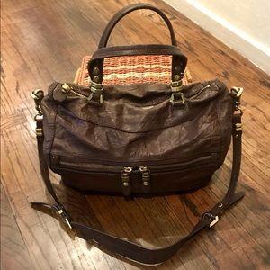 OrYANY Crinkled Leather Satchel/Crossbody Bag
